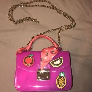 FURLA hot pink top handle chain bag
